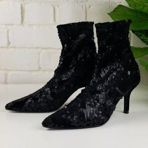 Zara Sequin Slip-On Heeled Booties